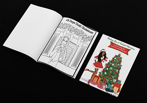 Christmas book open with cover